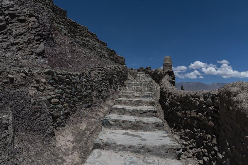 Escaleras de piedra del palacio de Leh que llevan derecho hacia arriba fotografía de archivo libre de regalías