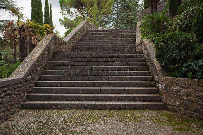 Escaleras de piedra viejas en el parque fotografía de archivo libre de regalías