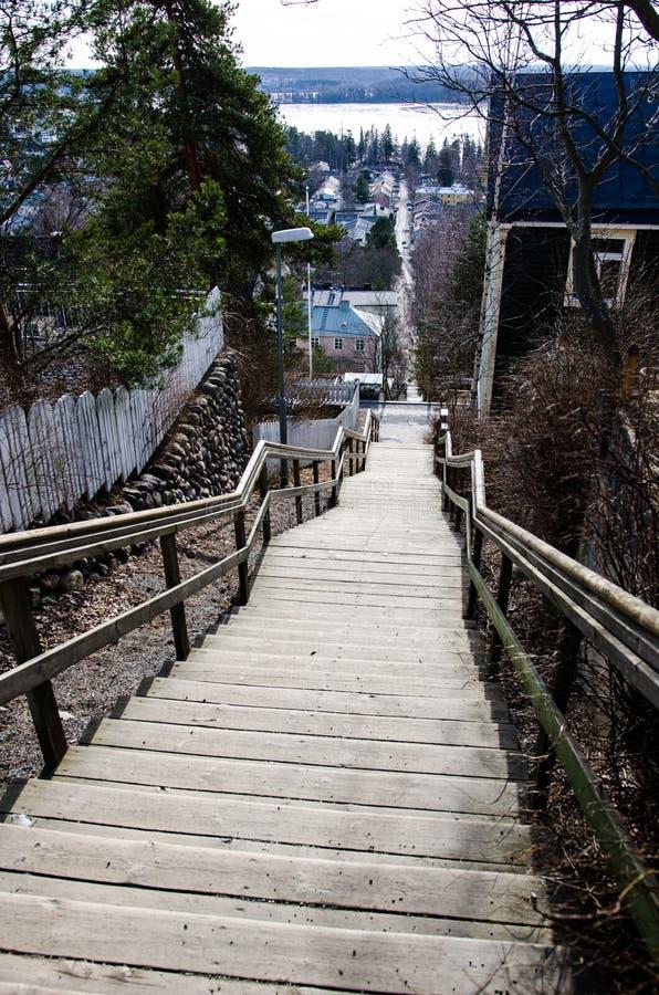 Escaleras de Pispala en Tampere Finlandia imagen de archivo libre de regalías