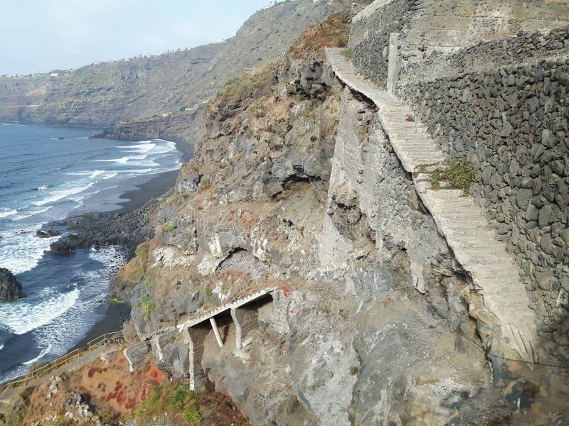 Escaleras de Tenerife cerca de Puerto de la Cruz foto de archivo