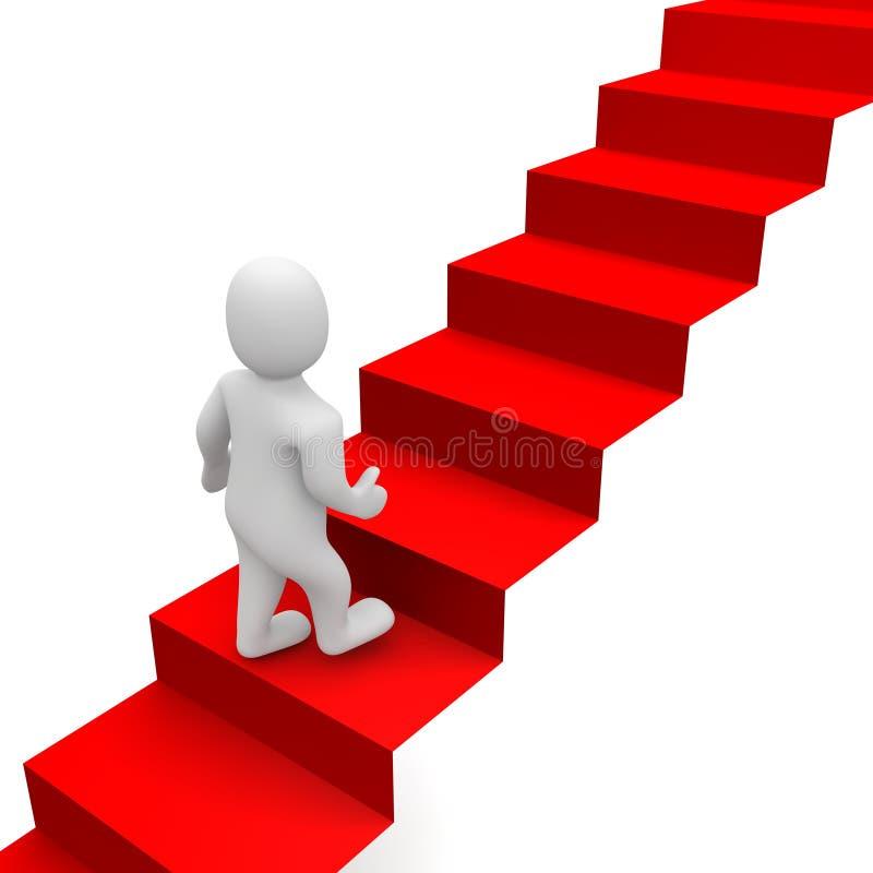 Escaleras del hombre y de la alfombra roja stock de ilustración