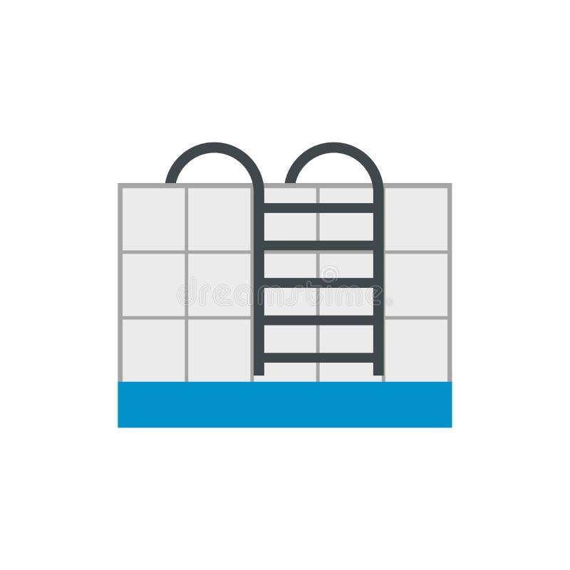 Escaleras del icono plano de la piscina stock de ilustración