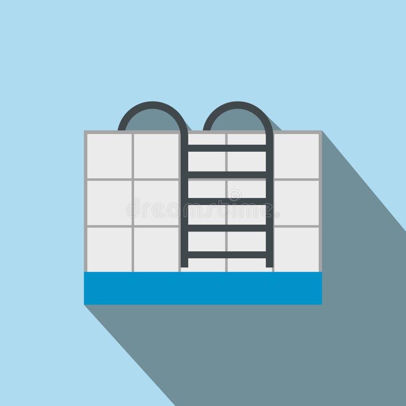 Escaleras del icono plano de la piscina ilustración del vector