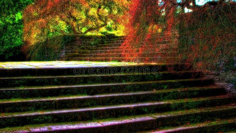 Escaleras del jardín imagenes de archivo