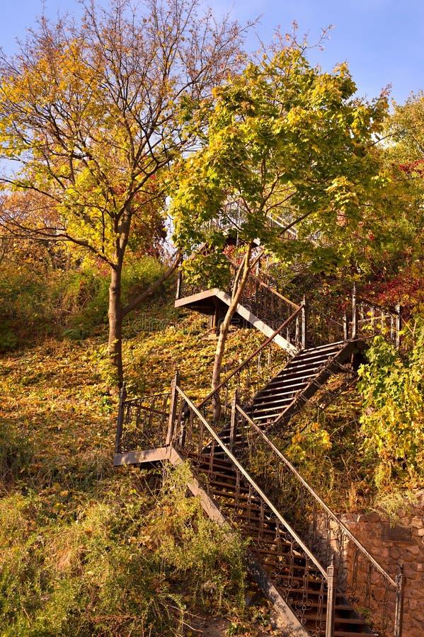Escaleras del otoño fotos de archivo