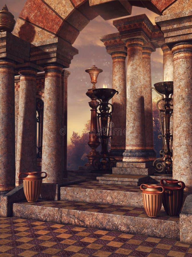 Escaleras del palacio con los floreros ilustración del vector