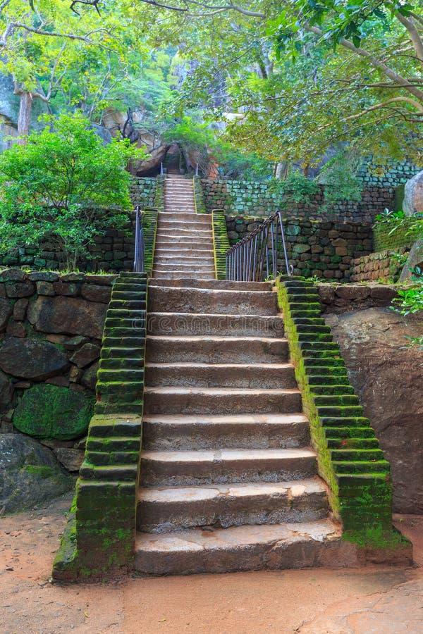 Escaleras en el castillo viejo de Sigiriya imágenes de archivo libres de regalías