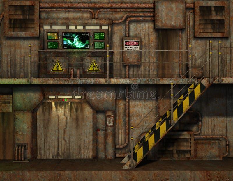 Escaleras en la sala de mando ilustración del vector