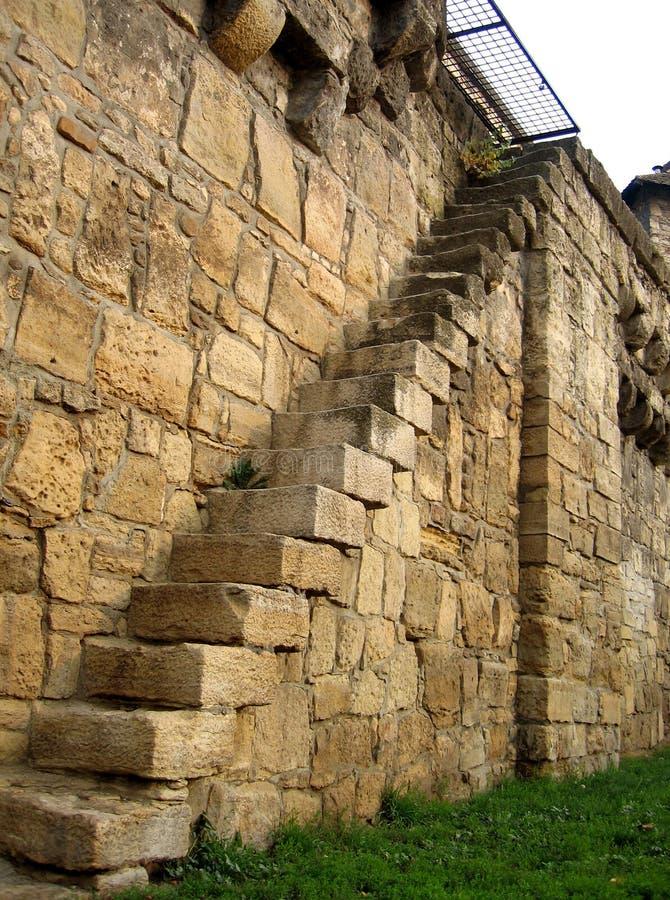 Escaleras en pared fotografía de archivo