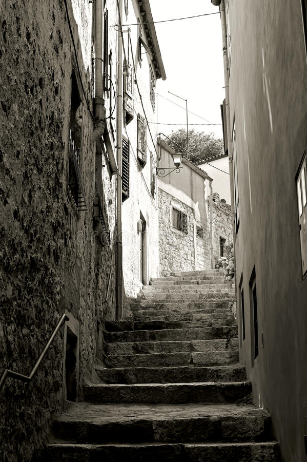 Escaleras en Rovinj foto de archivo