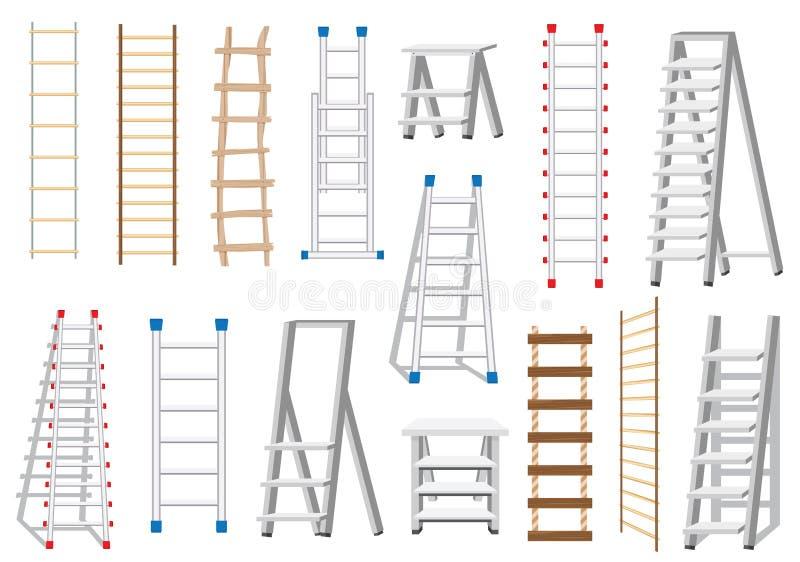 Escaleras fijadas hechas de diversos materiales: Madera y metal Escalera de cuerda ilustración del vector