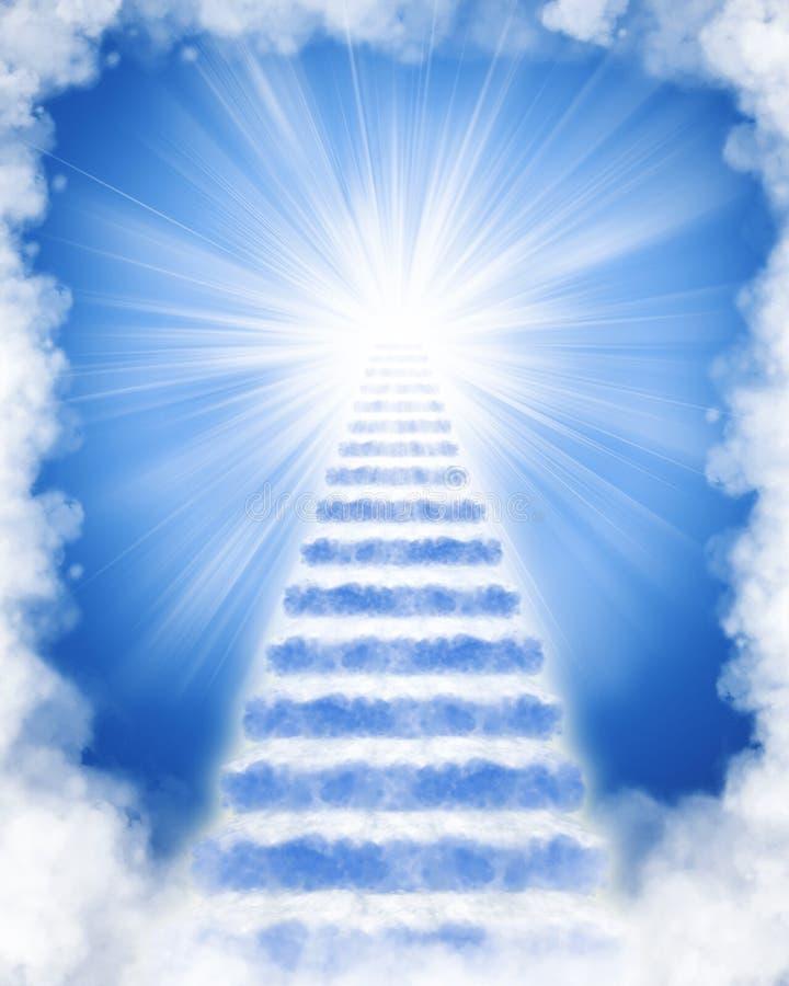 Escaleras hechas de nubes al cielo stock de ilustración