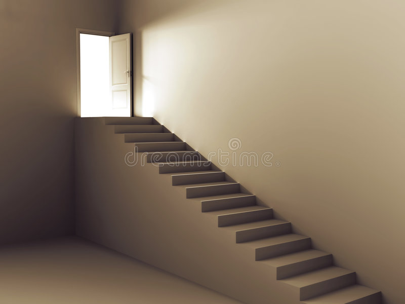 Escaleras a la puerta de la luz libre illustration