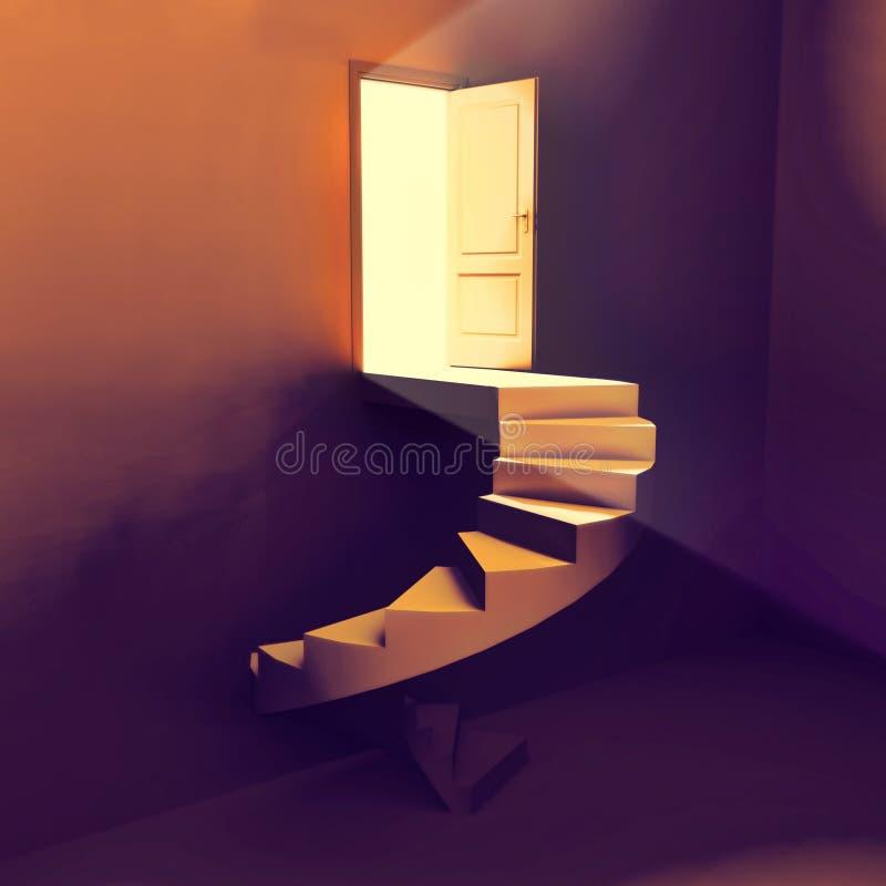 Escaleras a la puerta de la luz stock de ilustración