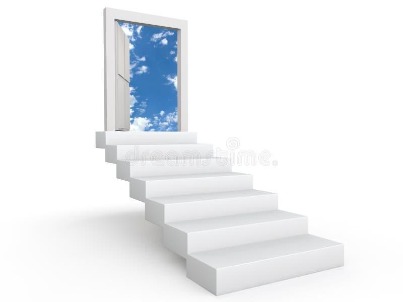 Escaleras a la puerta en el cielo ilustración del vector