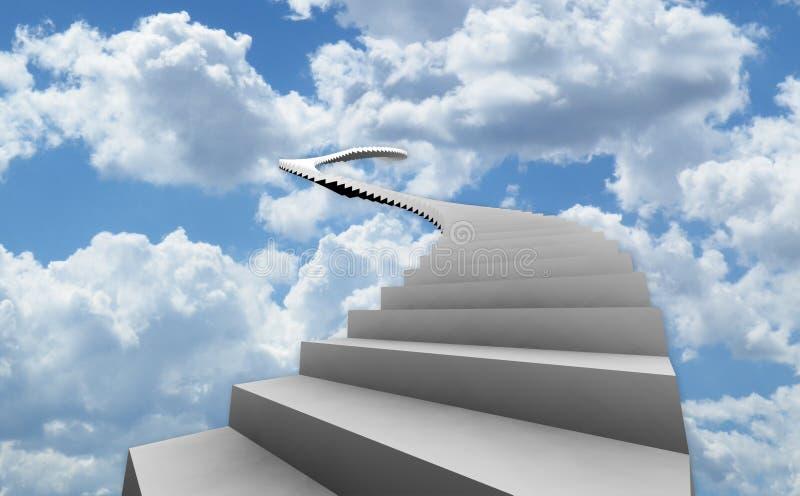 Escaleras largas en cielo