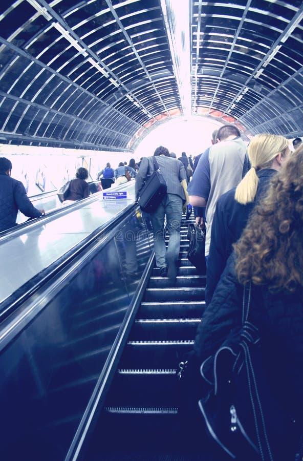 Escaleras móviles del subterráneo fotografía de archivo libre de regalías