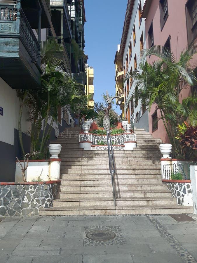 Escaleras Puerto de la Cruz de Tenerife foto de archivo