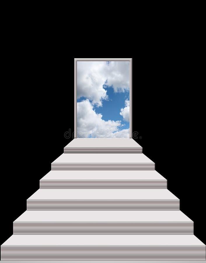 Escaleras que llevan de sitio oscuro de encender el cielo imagen de archivo libre de regalías