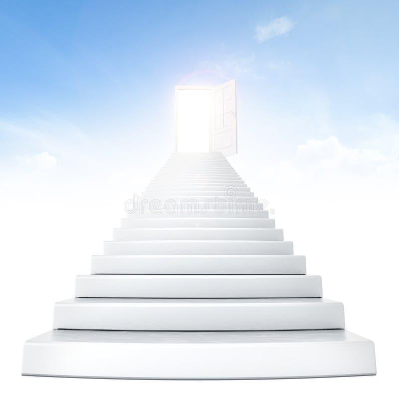 Escaleras que llevan a la puerta abierta fotos de archivo libres de regalías