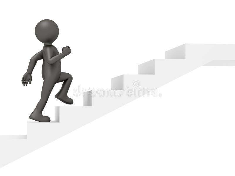 Escaleras que suben del hombre ilustración del vector