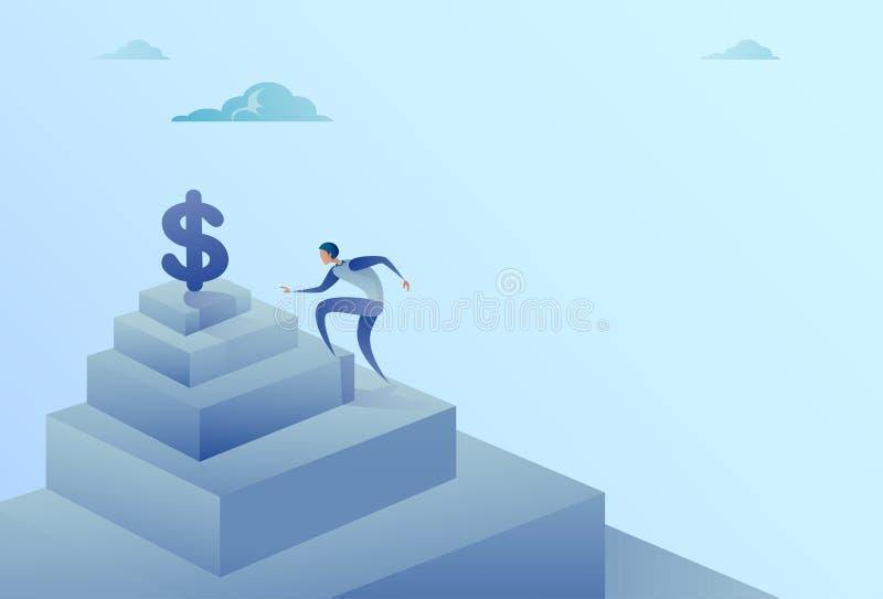 Escaleras que suben del hombre de negocios al concepto del éxito del crecimiento de las finanzas de la muestra de dólar ilustración del vector
