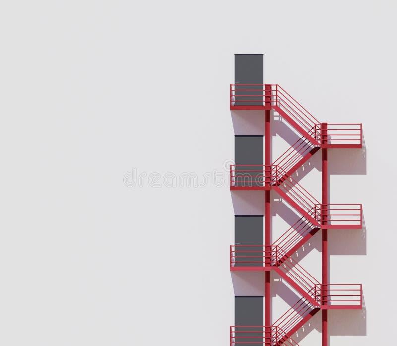 Escaleras rojas de la arquitectura de la pared blanca mínima del edificio, representación 3d fotografía de archivo