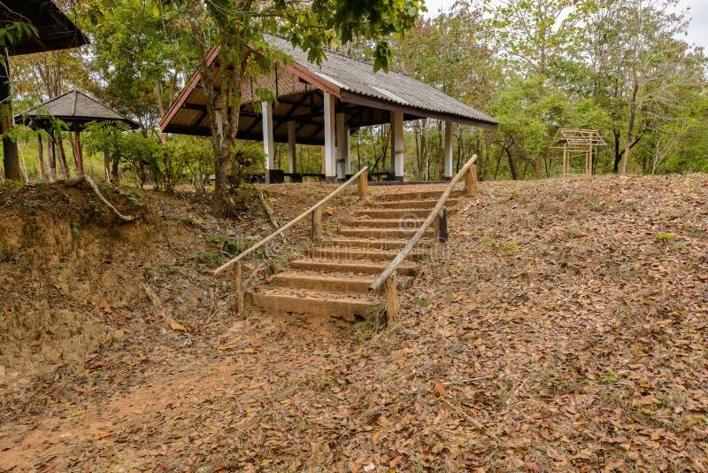 Escaleras viejas del cemento con la verja de madera fotografía de archivo libre de regalías