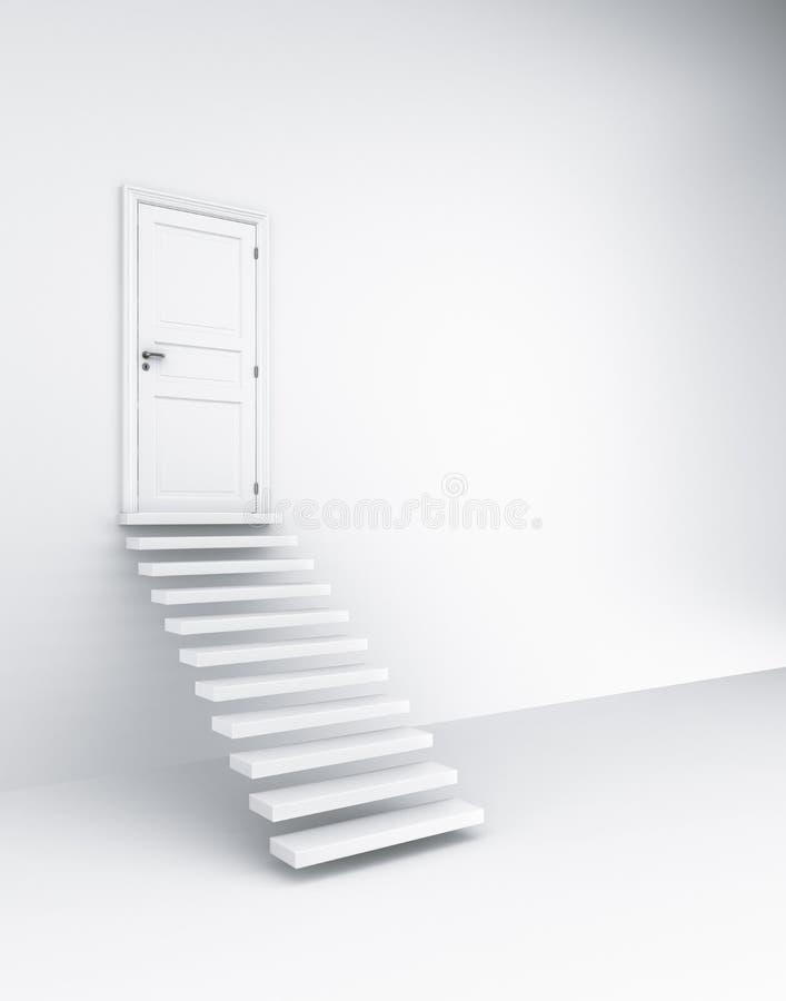 Escaleras y a puerta cerrada libre illustration
