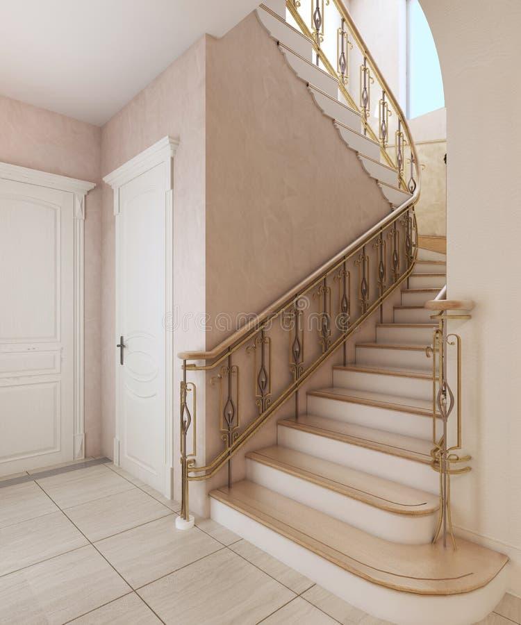 Escalier à l'intérieur d'une maison privée dans une conception classique illustration de vecteur