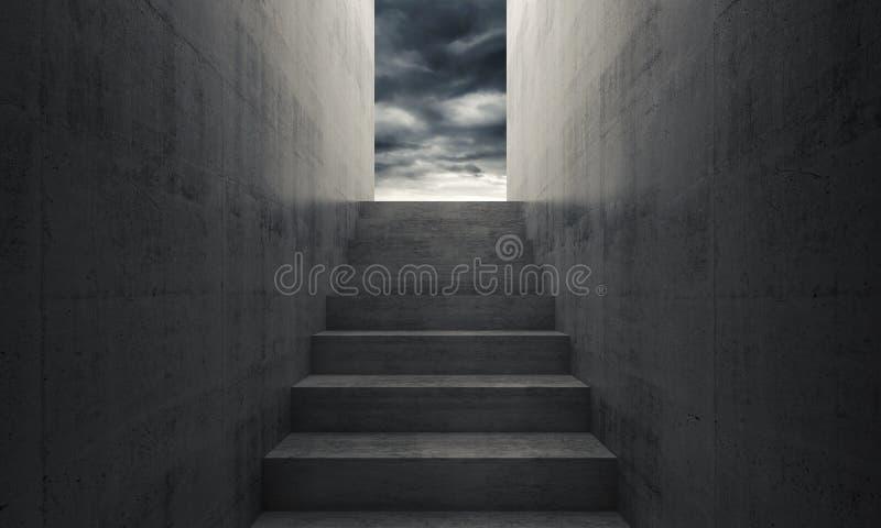 Escalier au ciel, intérieur foncé vide illustration stock
