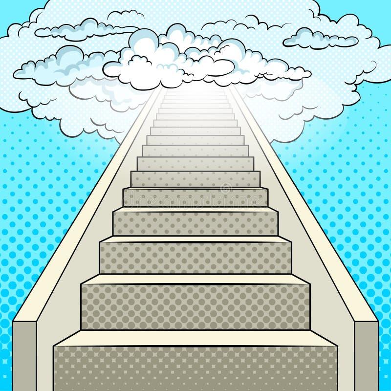 Escalier au vecteur d'art de bruit de ciel illustration de vecteur