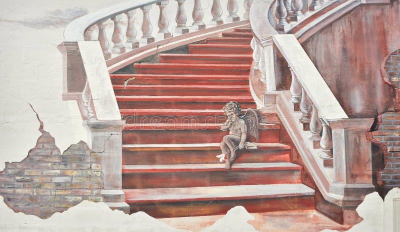 Escalier avec Angel Mural photographie stock