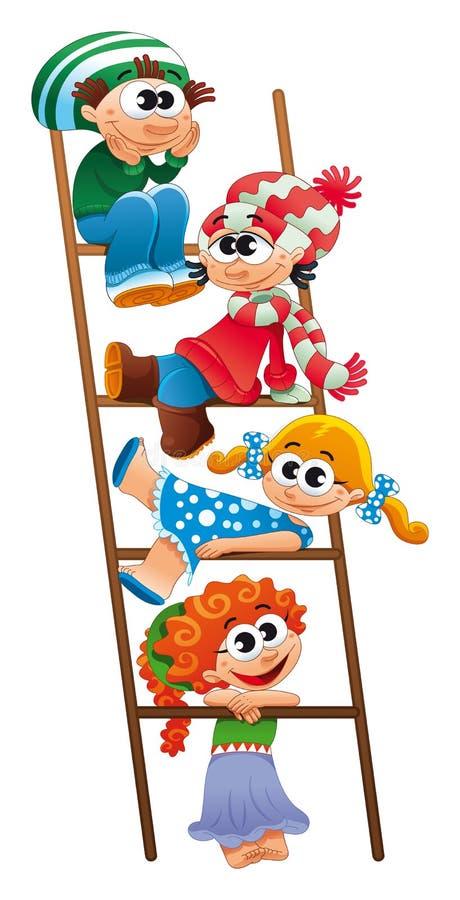 Escalier avec des enfants. illustration libre de droits
