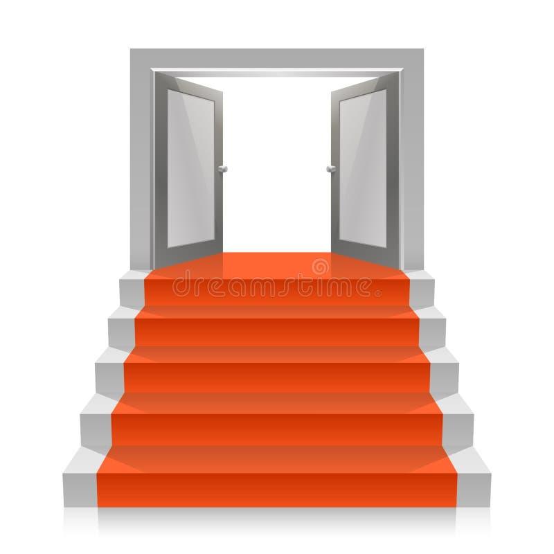 Escalier avec des portes ouvertes illustration stock