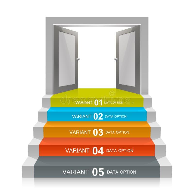 Escalier avec des portes ouvertes illustration libre de droits
