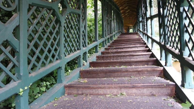 Escalier couvert en bois antique en beau parc image stock