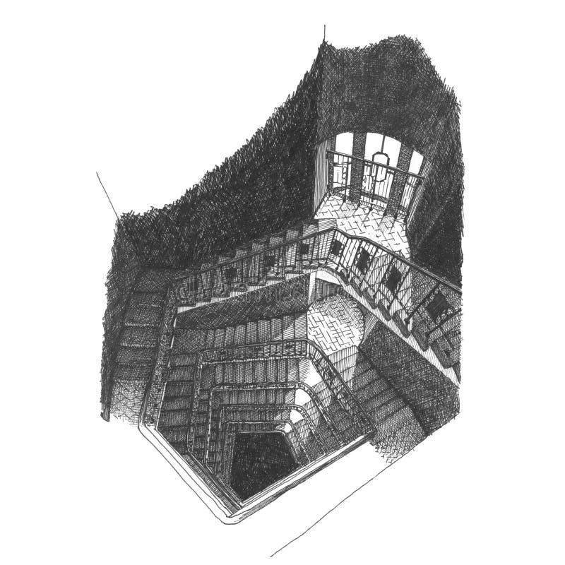Escalier dans la Chambre de l'acteur sur l'Arbat illustration libre de droits