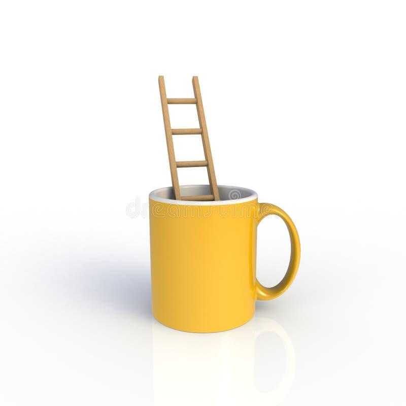 Escalier dans une tasse de café jaune isolé sur fond blanc Modèle de validation pour la conception d'application Équipement d'exp illustration de vecteur