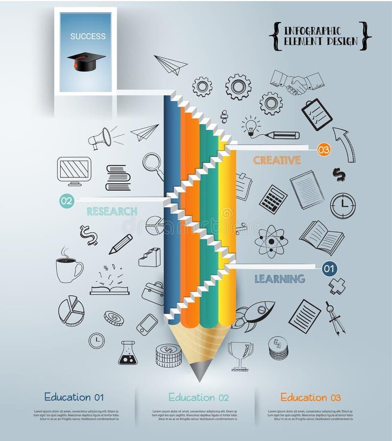 Escalier de crayon au succès dans la porte Affaires Infographic illustration de vecteur