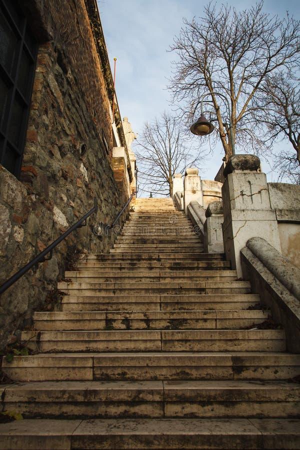 Escalier en pierre d'un vieux bâtiment Vue de bas en haut images libres de droits