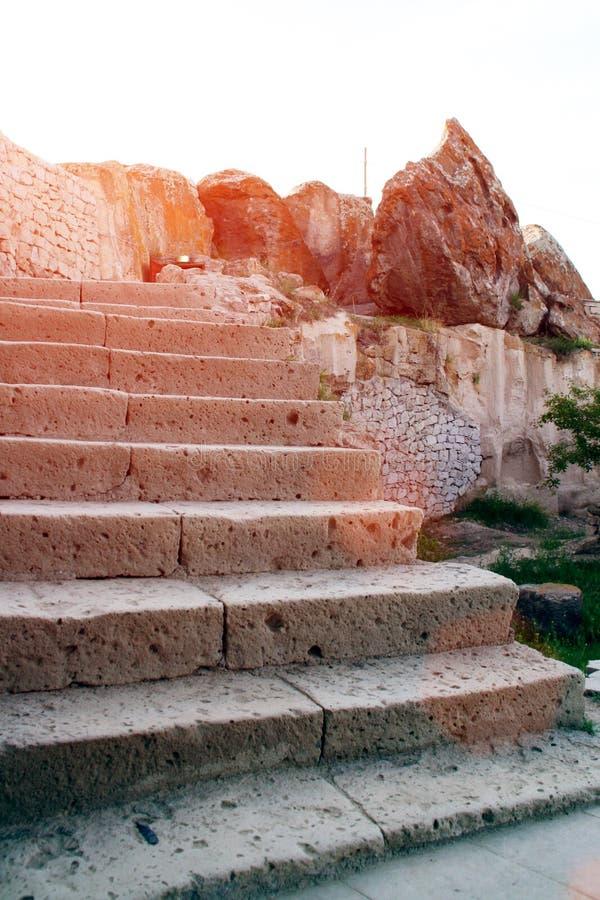 Escalier en pierre dans Cappadocia photographie stock libre de droits