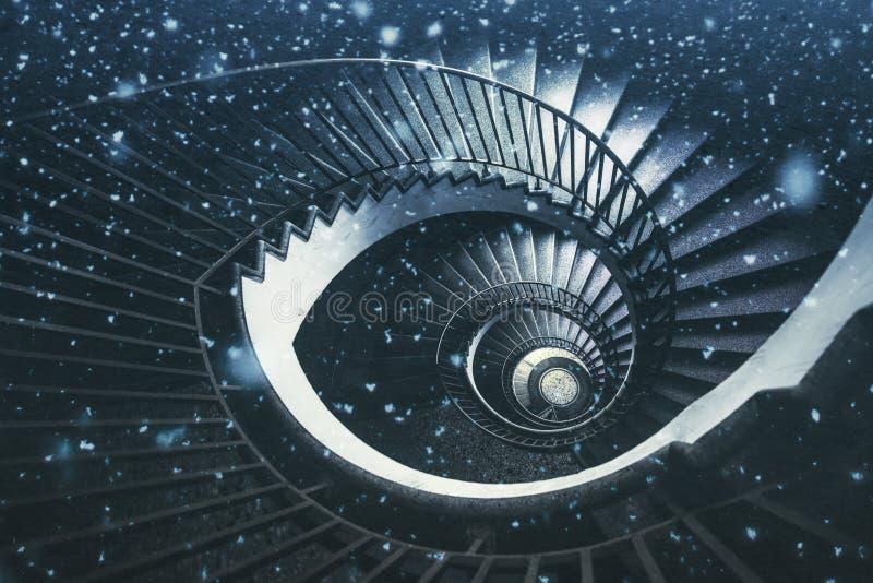 Escalier en spirale abstrait, papier peint d'imagination photo stock
