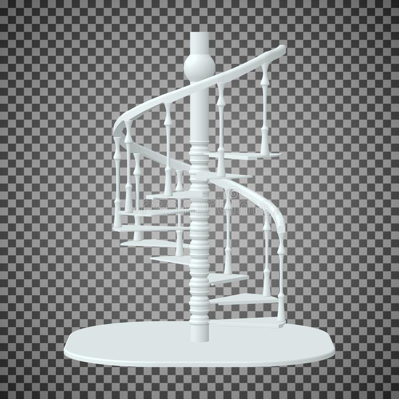 Escalier en spirale blanc, escaliers 3d sur un fond transparent illustration stock