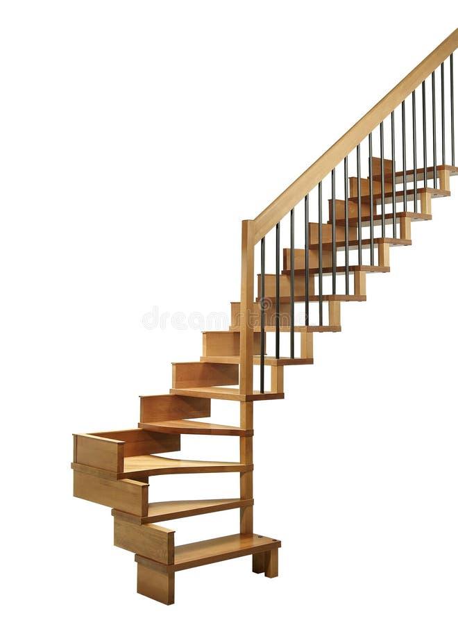 Escalier faisant le coin à en bois photographie stock libre de droits