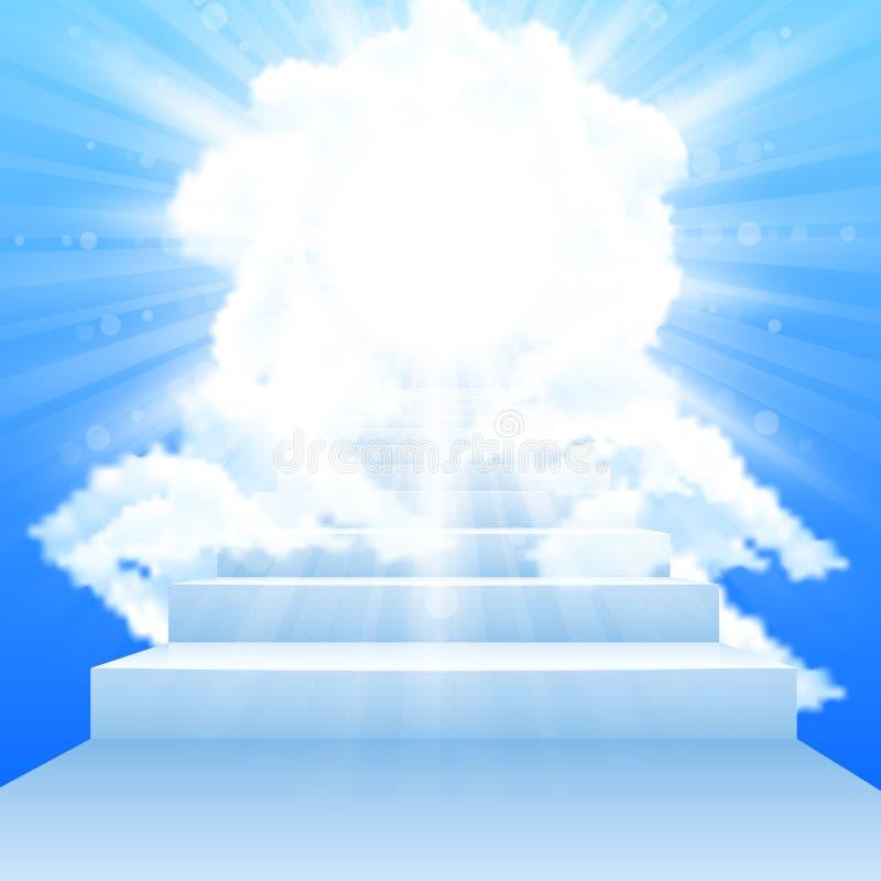 Escalier menant au ciel avec des nuages en ciel illustration de vecteur