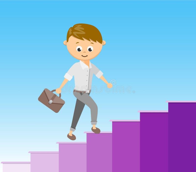 Escalier plat d'illustration de vecteur de style au succès dans le concept de carrière illustration libre de droits