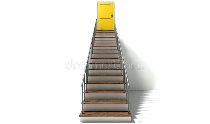Escalier pour jaunir la porte illustration stock