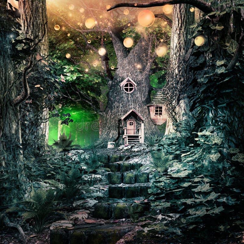 Escaliers à l'arbre magique illustration libre de droits