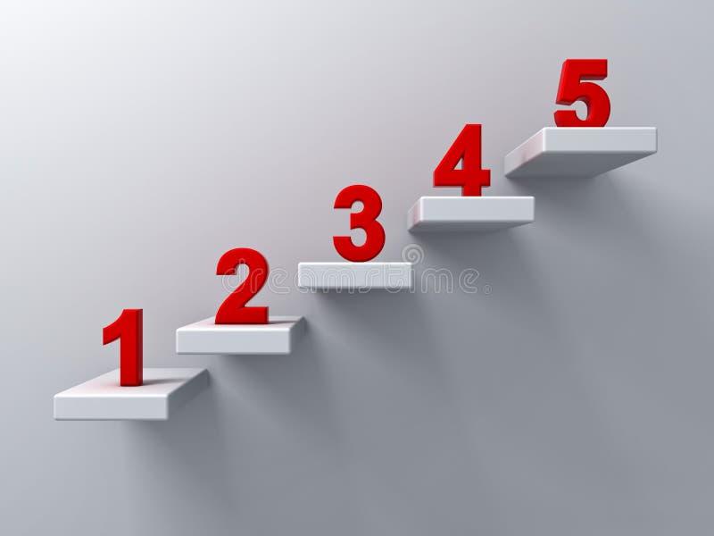 Escaliers abstraits ou concept d'étapes sur le fond blanc de mur avec le nombre rouge d'un à cinq illustration de vecteur